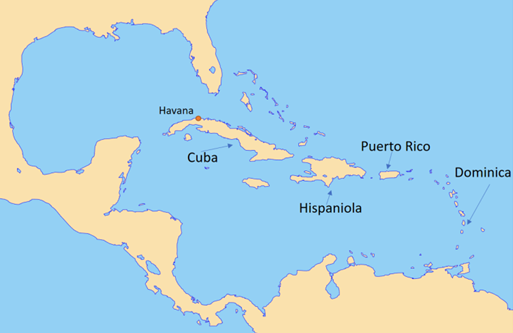 map of caribb